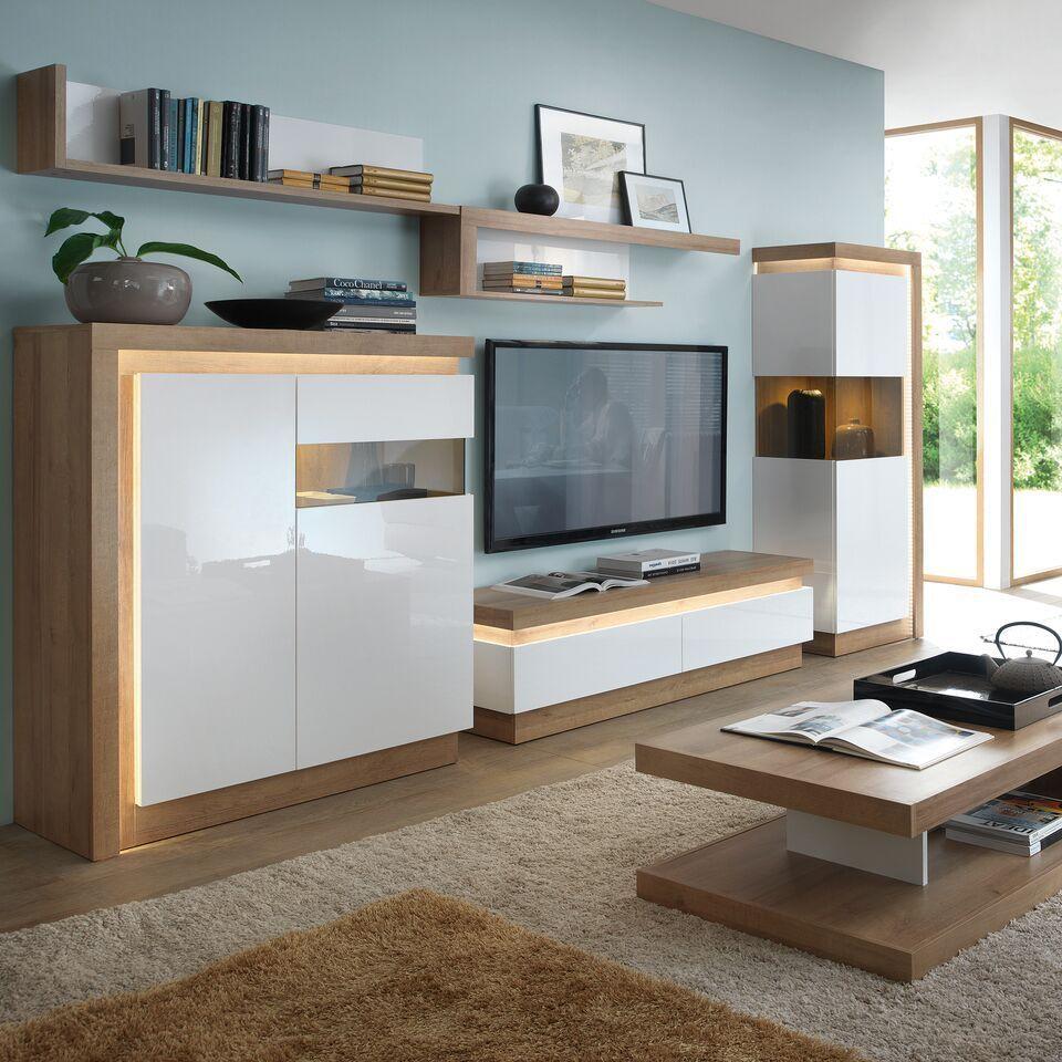white high gloss oak finish display cabinet rh homegenies. Black Bedroom Furniture Sets. Home Design Ideas