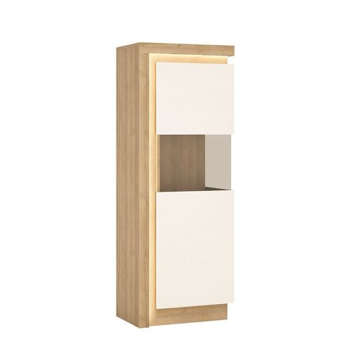 white high gloss oak finish display cabinet RH