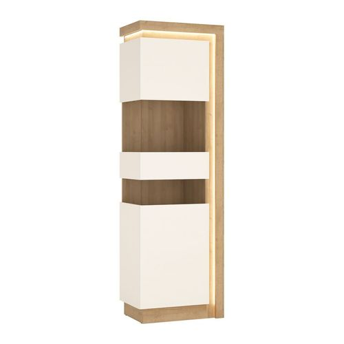 Tall Narrow white high gloss oak finish cabinet LH