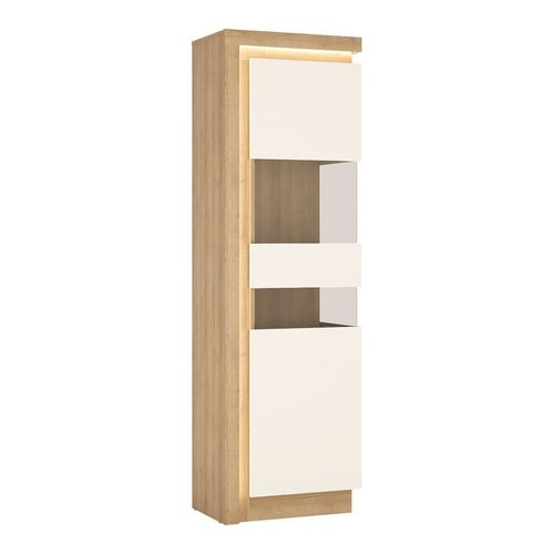 Tall Narrow white high gloss oak finish cabinet RH