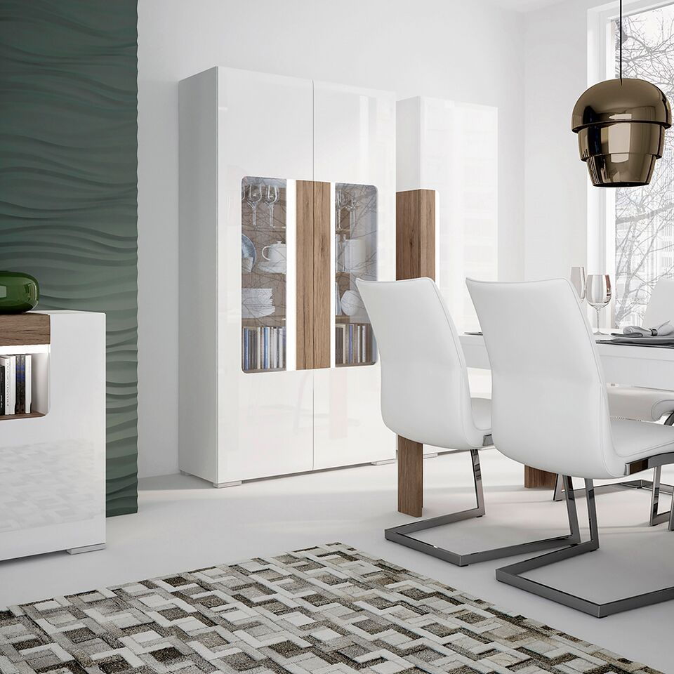 White Gloss Bathroom Fitted Furniture 1500mm: White Gloss Tv Rear Wall Board With Oak Effect 190cm