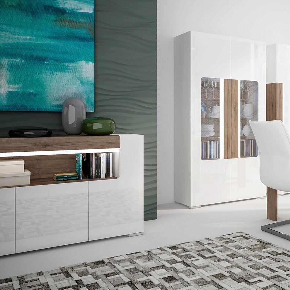 white high gloss 3 door sideboard homegenies. Black Bedroom Furniture Sets. Home Design Ideas