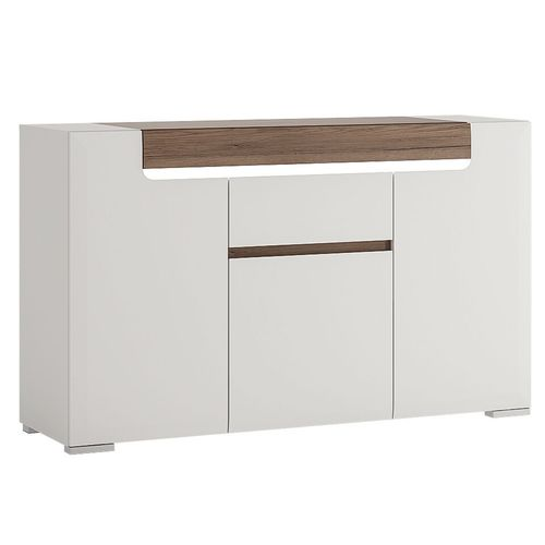 White high gloss 3 door side board with drawer