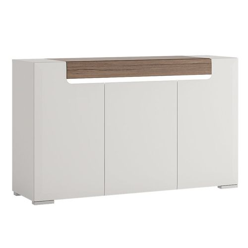 White gloss 3 door sideboard with san remo effect