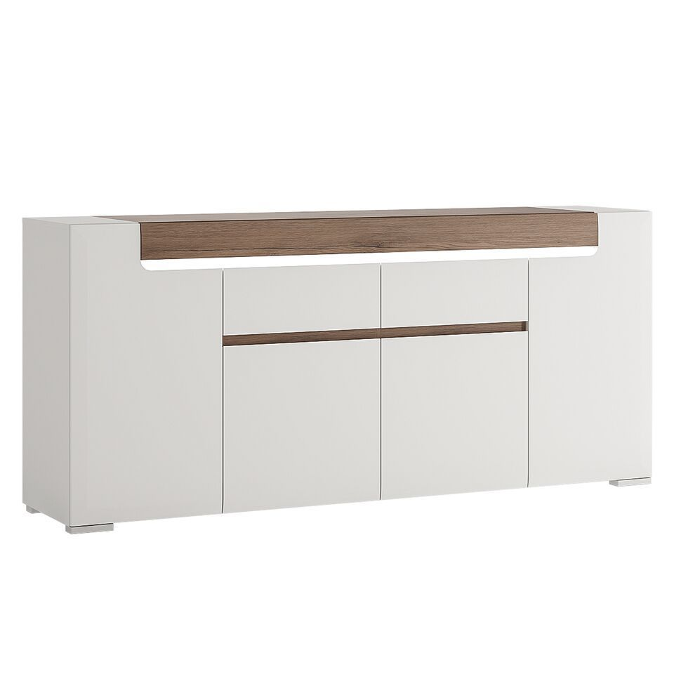 White gloss 4 door 2 drawer sideboard with oak effect Homegenies