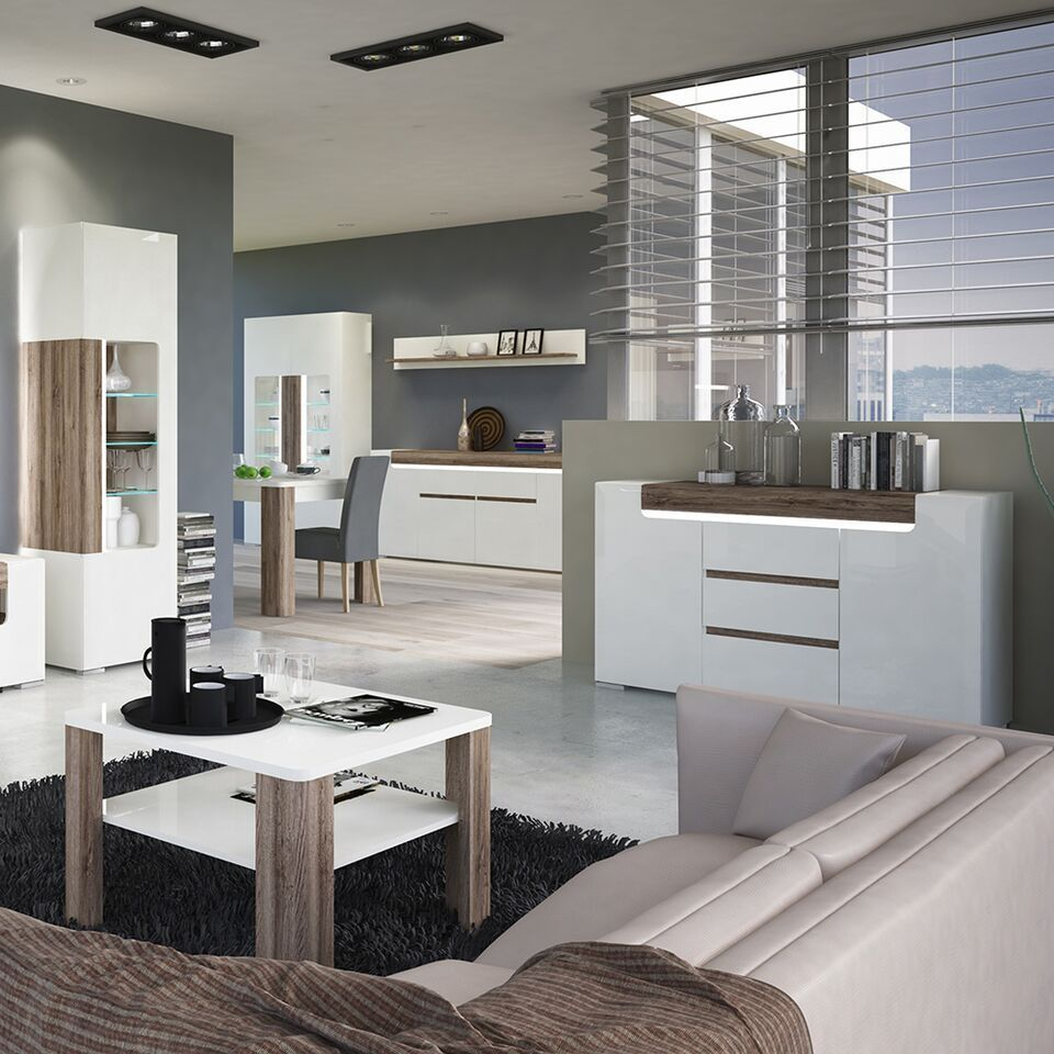 White Gloss Bathroom Fitted Furniture 1500mm: White Gloss 4 Door 2 Drawer Sideboard With Oak Effect