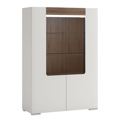 White high gloss low 2 door glazed cabinet