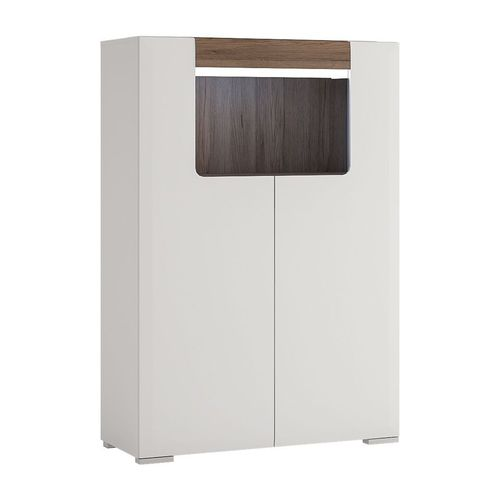 white high gloss 2 door cabinet with open shelf front