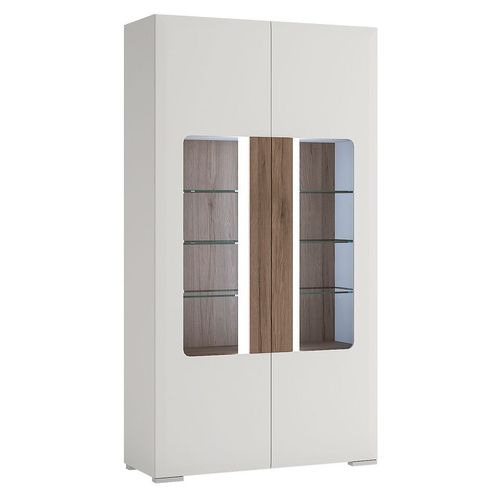 White high gloss tall wide 2 door glazed cabinet