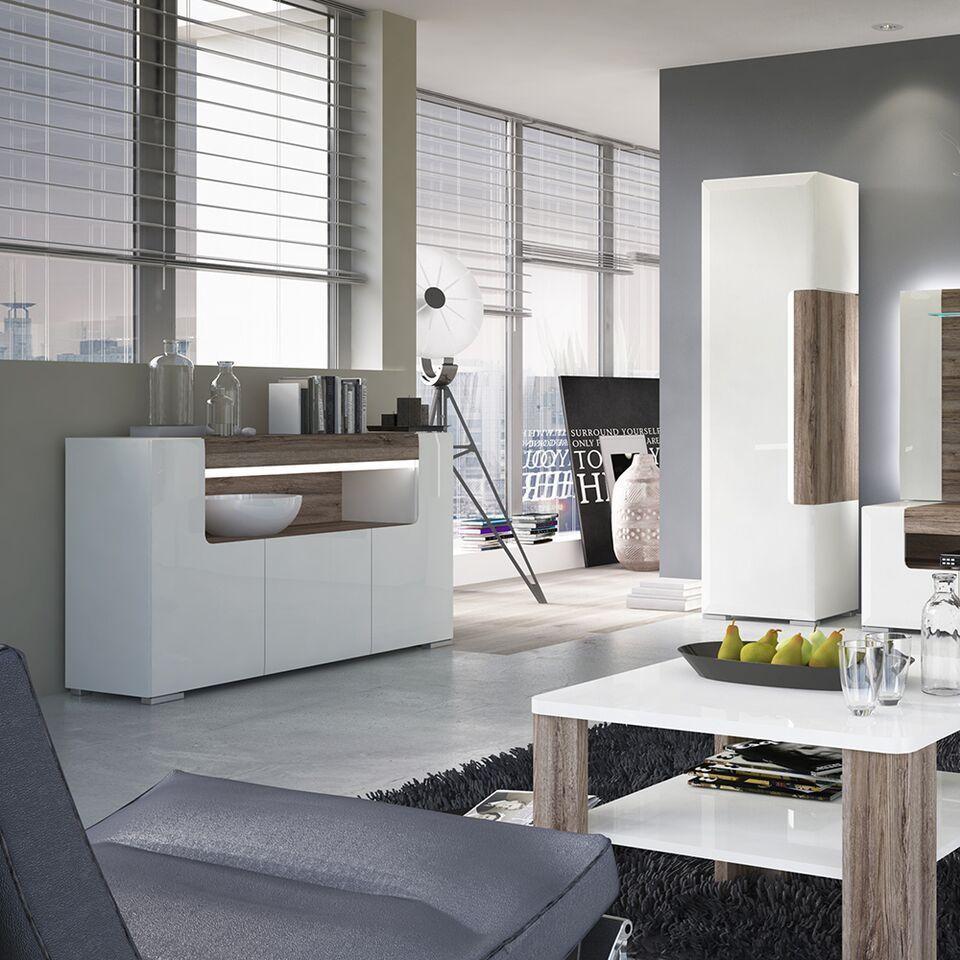 White high gloss 140cm tv unit cabinet - Homegenies