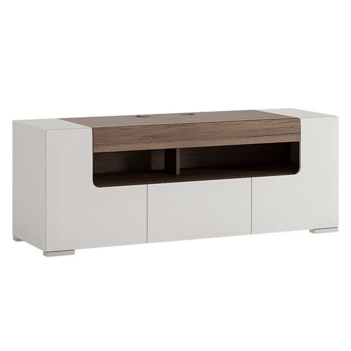 White high gloss 140cm tv unit cabinet