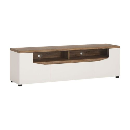 White high gloss with stiling oak finish tv cabinet
