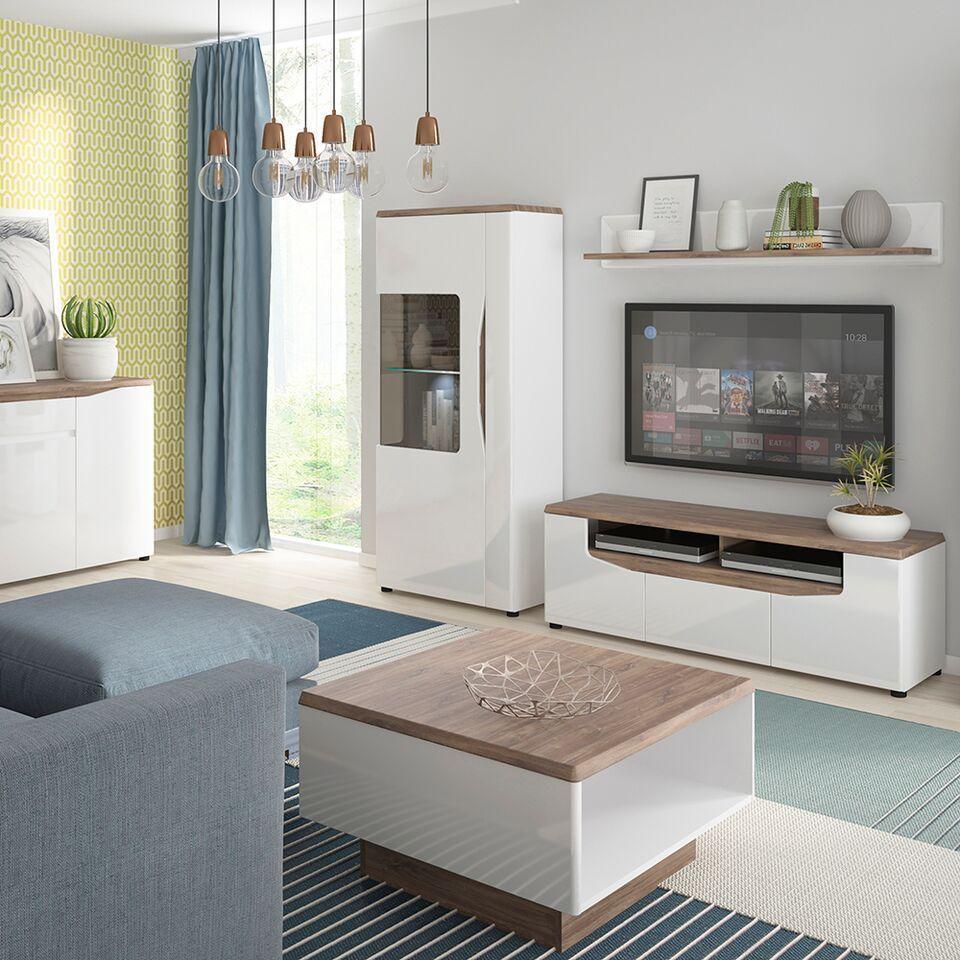 White Gloss With Stiling Oak Finish Tv Cabinet Unit