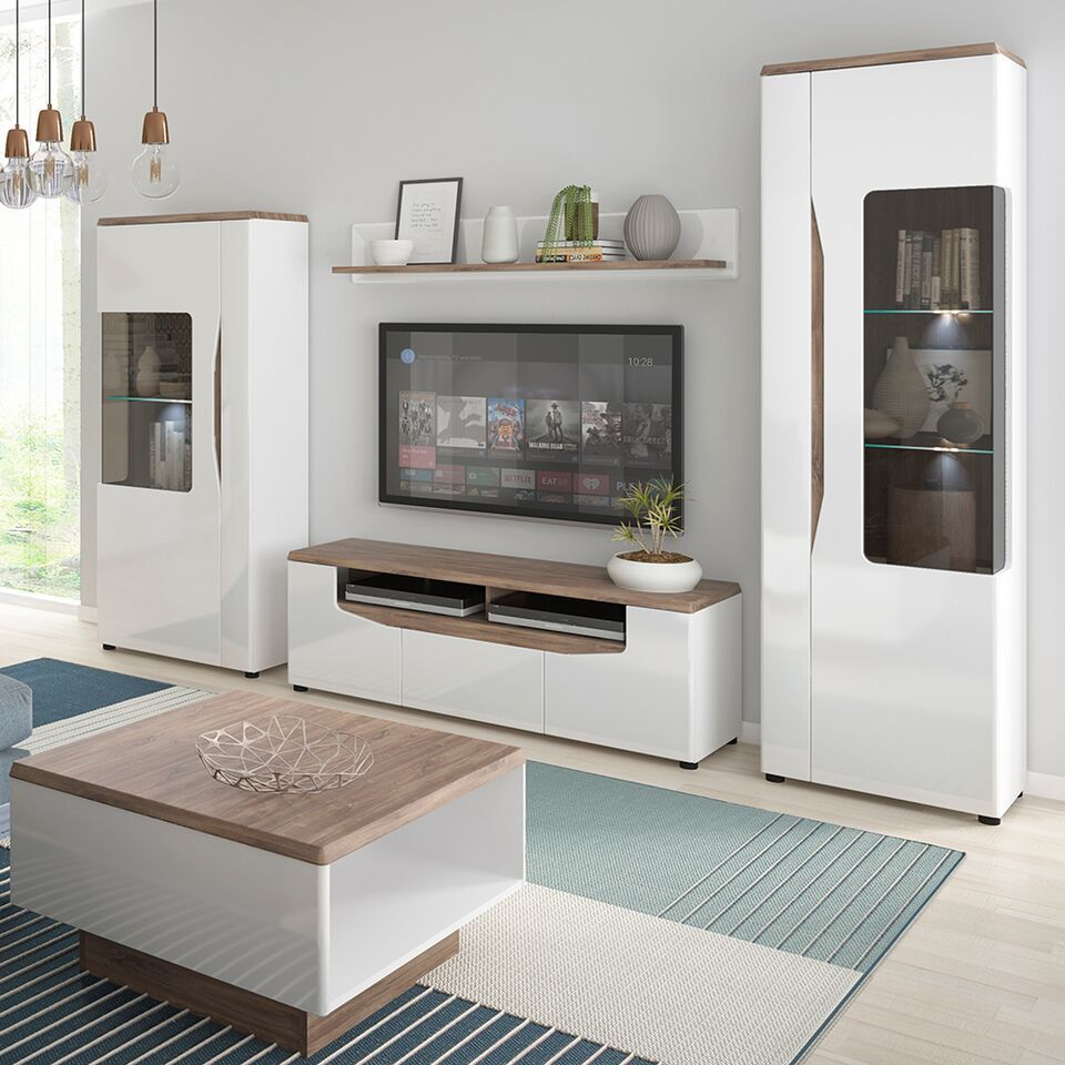 Living Room Cabinet Design In India: White Gloss With Stiling Oak Finish Tv Cabinet Unit
