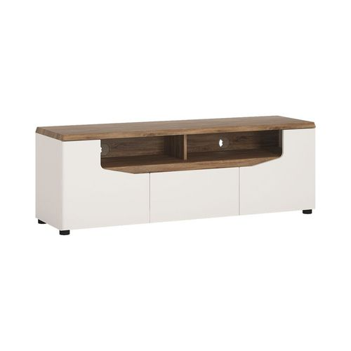 White gloss with stiling oak finish tv cabinet unit