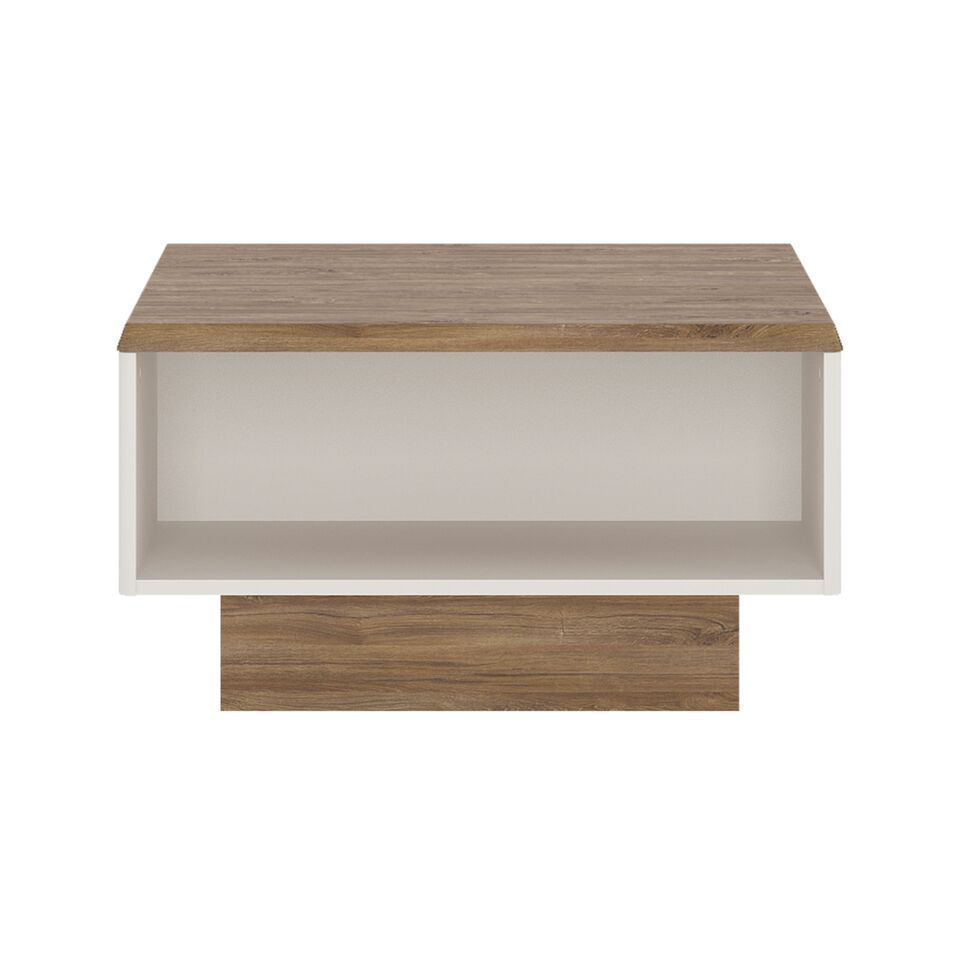 Oak White High Gloss Coffee Table: White High Gloss With Stiling Oak Finish Coffee Table