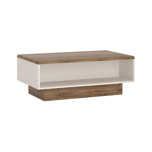White gloss with stiling oak finish wide coffee table