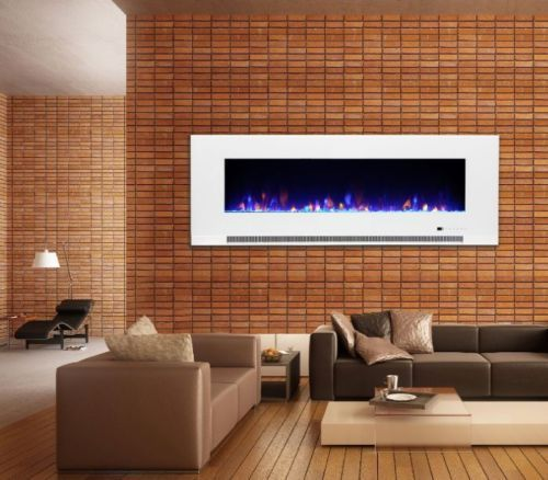 50 Inch white wall mounted electric LED fire