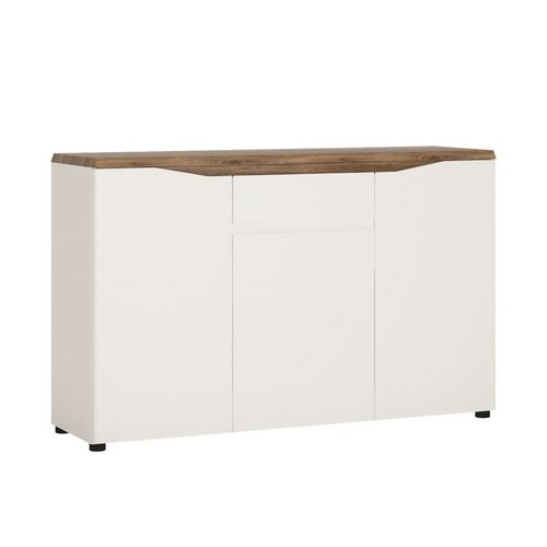 White high gloss oak top 3 door 1 drawer sideboard