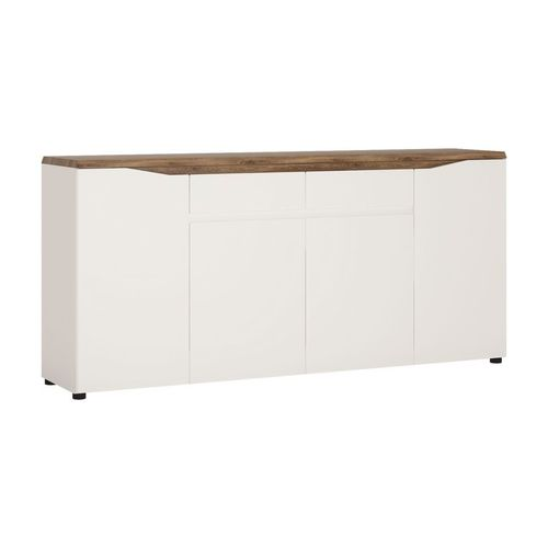 Large White high gloss 4 door 2 drawer sideboard
