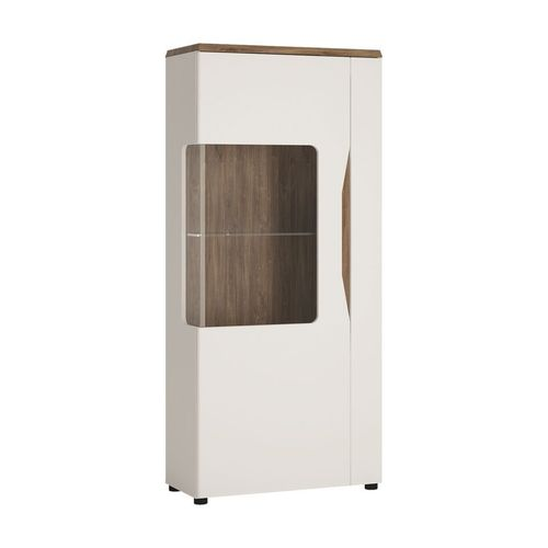White gloss 1 door display cabinet with oak effect LH