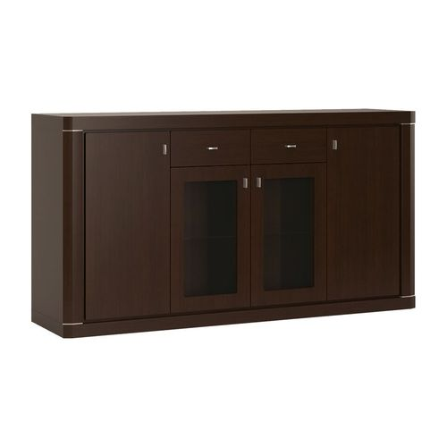 Dark Wenge 4 door 2 drawer glazed sideboard
