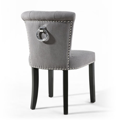 Accent grey stonewash fabric chairs - Pair