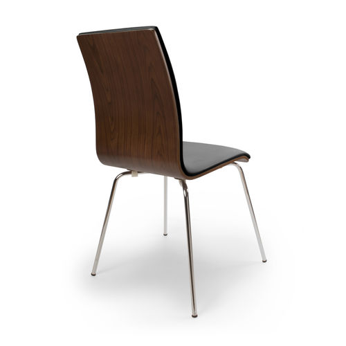Black leather match dining chairs with walnut back - Pair