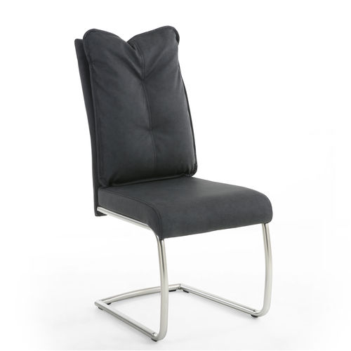 Dark grey fabric dining chairs - Pair