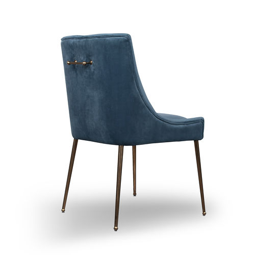 Blue brushed velvet sloping armchair
