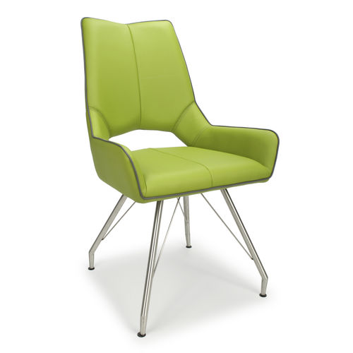 Retro style green leather match dining chairs - Pair