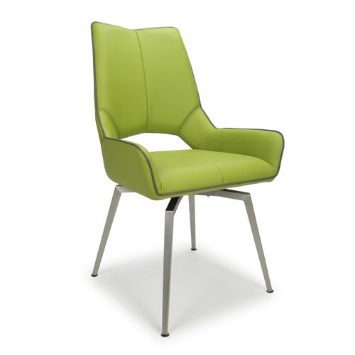 Retro green with grey leather match dining chairs - Pair