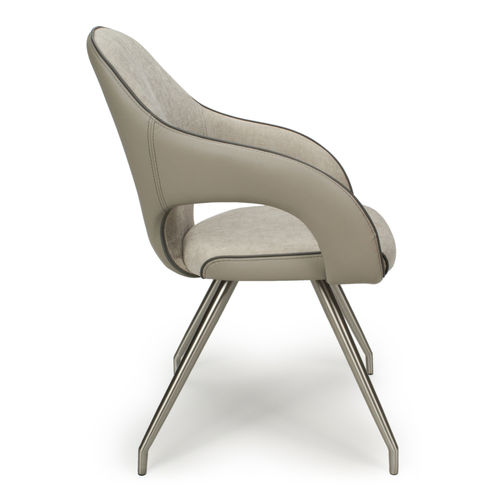 Grey fabric and match leather dining chairs - Pair