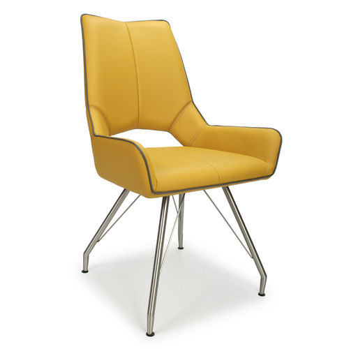 Yellow leather match dining chairs with grey piping - Pair