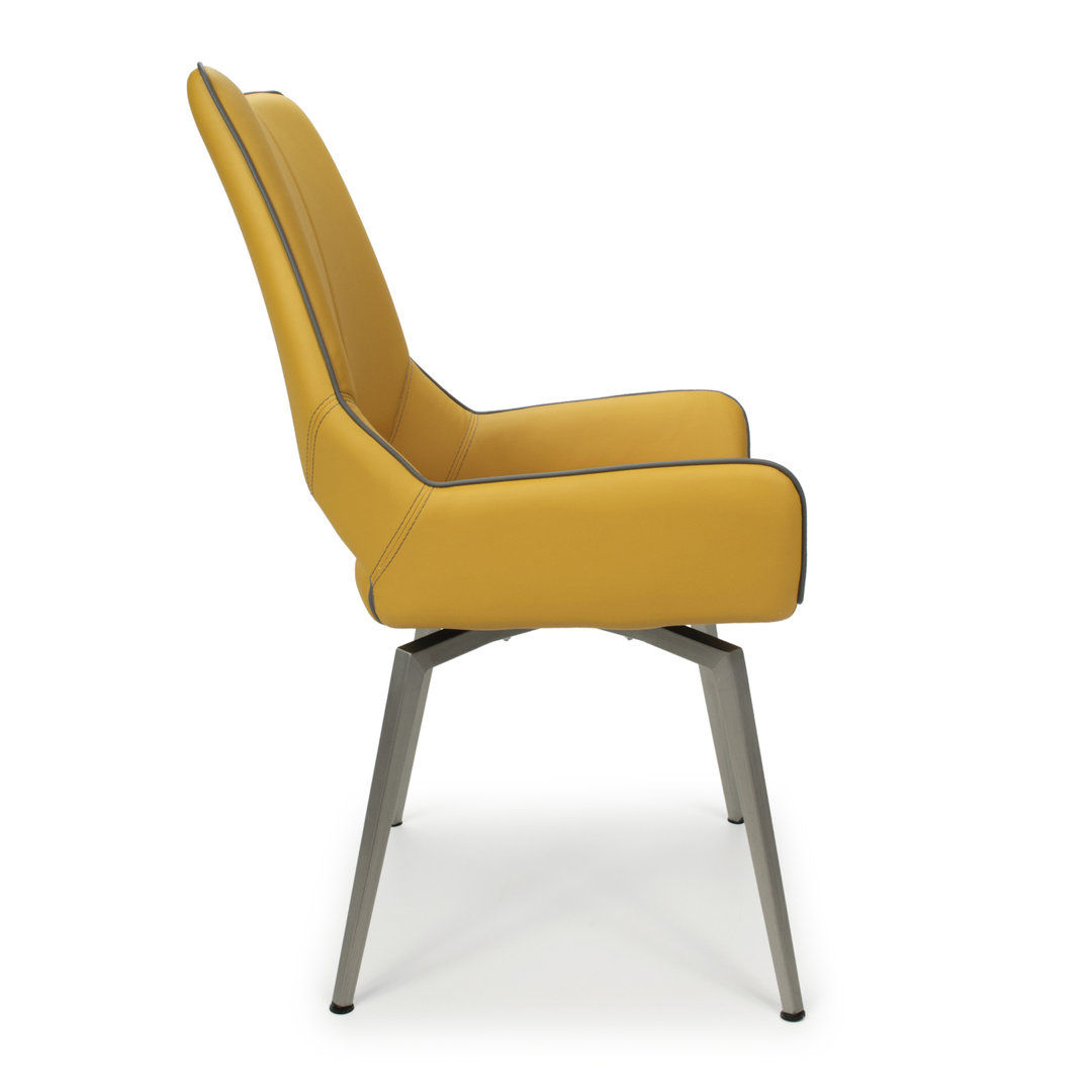 Retro yellow with grey leather match dining chairs ...