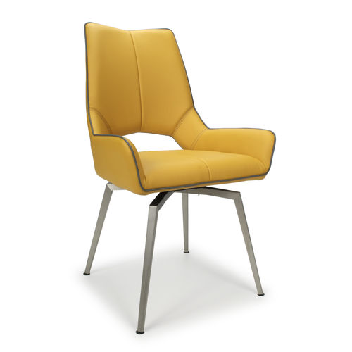 Retro yellow with grey leather match dining chairs - Pair