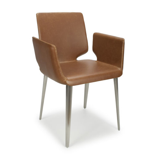 Tan leather match dining chairs