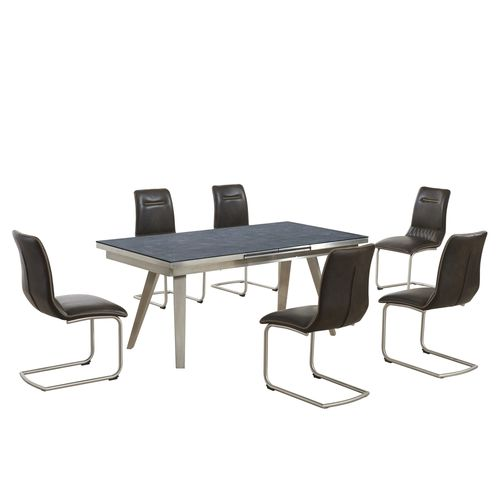 Grey textured glass dining table and 6 brown chairs