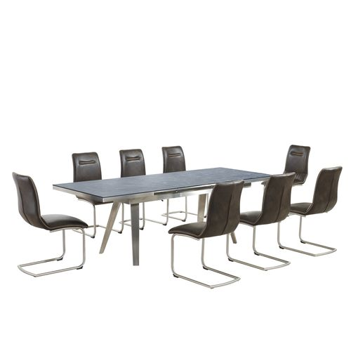 Grey textured glass dining table and 8 brown chairs