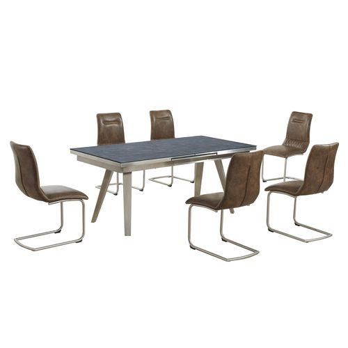 Grey textured glass dining table and 6 tan chairs