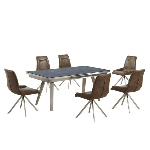 Grey textured glass dining table and 6 tan shape chairs