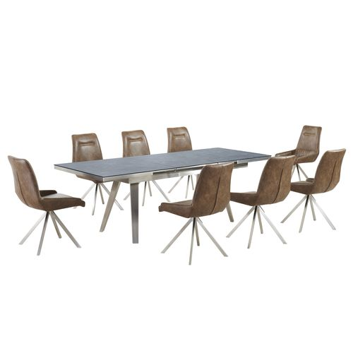 Grey textured glass dining table and 8 tan shape chairs