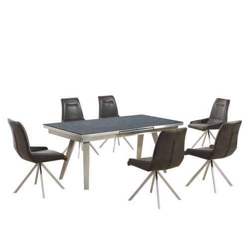 Grey textured glass dining table and 6 vintage chairs