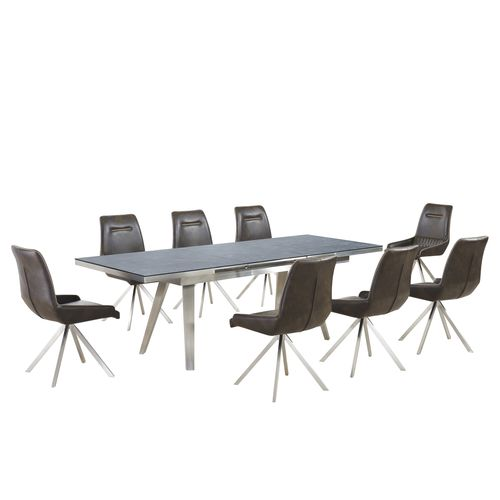 Grey textured glass dining table and 8 vintage chairs