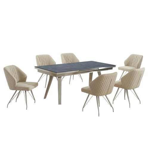 Grey textured glass dining table and 6 natural chairs
