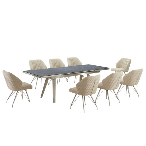 Grey textured glass dining table and 8 natural chairs