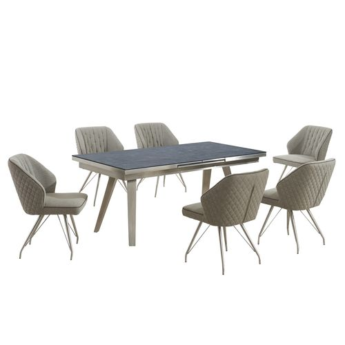 Grey textured glass dining table and 6 fabric chairs