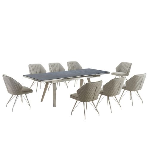 Grey textured glass dining table and 8 fabric chairs