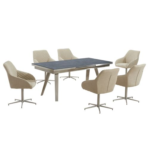 Grey textured glass dining table and 6 swivel chairs