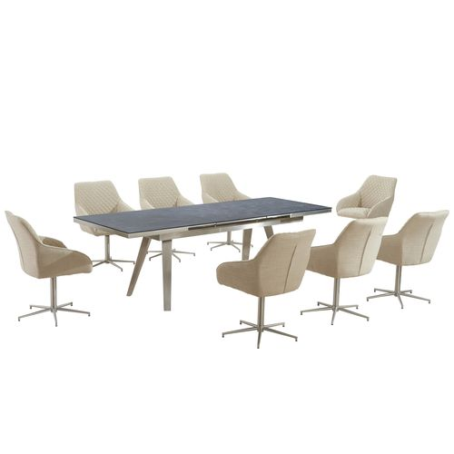 Grey textured glass dining table and 8 swivel chairs